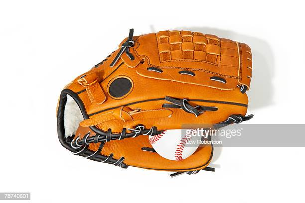 baseball mitt and baseball - baseball glove stock pictures, royalty-free photos & images