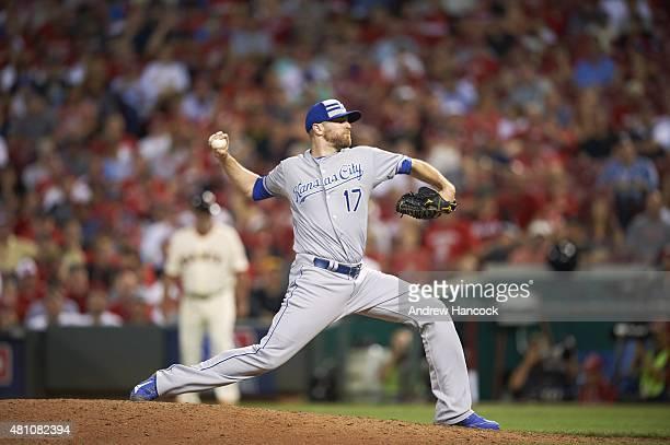MLB All Star Game Kansas City Royals Wade Davis in action pitching vs National League at Great American Ball Park Cincinnati OH CREDIT Andrew Hancock