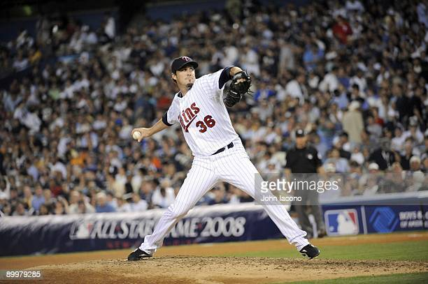 MLB All Star Game Minnesota Twins Joe Nathan in action pitching vs National League Longest AllStar game in history 4 hours 50 minutes Bronx NY...