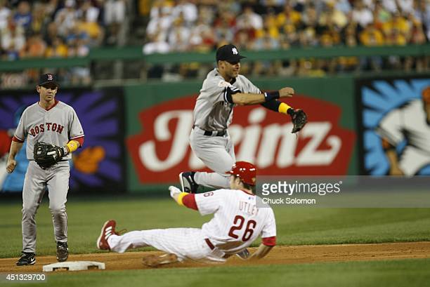 MLB All Star Game New York Yankees Derek Jeter in action making throw vs National League at PNC Park Pittsburgh PA CREDIT Chuck Solomon