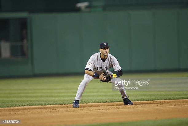 MLB All Star Game New York Yankees Derek Jeter in action fielding vs National League at PNC Park Pittsburgh PA CREDIT Chuck Solomon