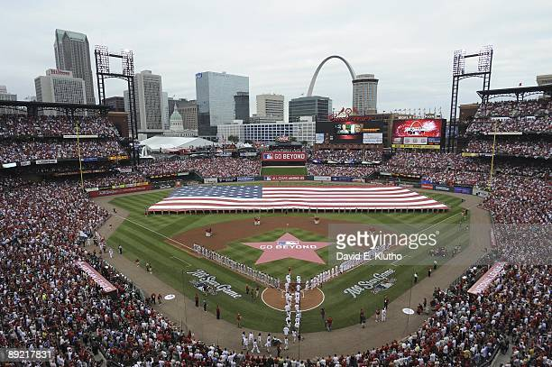 MLB All Star Game Overall wide view of Busch Stadium during ceremonies before game St Louis MO 7/14/2009 CREDIT David E Klutho