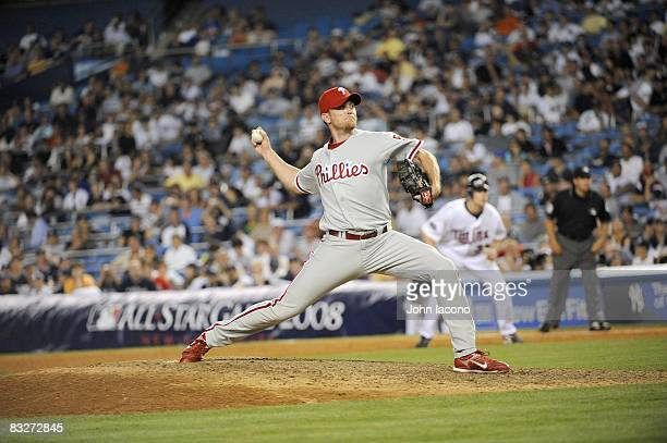 MLB All Star Game Philadelphia Phillies Brad Lidge in action pitching vs American League Longest AllStar game in history 4 hours 50 minutes Bronx NY...