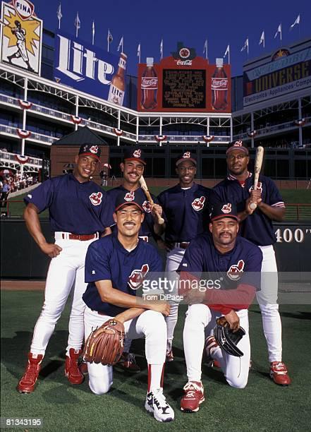 Baseball MLB All Star Game Portrait of Top Row Cleveland Indians Manny Ramirez Carlos Baerga Kenny Lofton and Albert Belle Bottom Row Dennis Martinez...