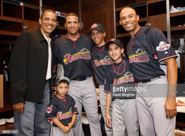 MLB All Star Game United States President Barack Obama poses for a photo with New York Yankees Mariano Rivera and his family in American League...