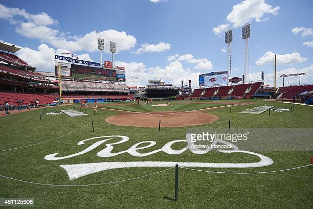 MLB All Star Game Wide angle view of Great American Ball Park with Reds logo on grass before National League vs American League game Cincinnati OH...