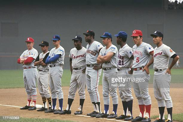 MLB AllStar Game St Louis Cardinals manager Red Schoendienst Pittsburgh Pirates Matty Alou Chicago Cubs Don Kessinger Atlanta Braves Hank Aaron San...