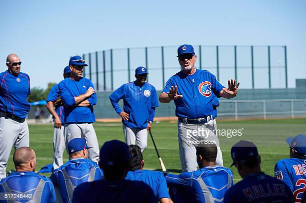 MLB Season Preview Chicago Cubs manager Joe Maddon addresses team during spring training photo shoot at Sloan Park Mesa AZ CREDIT Robert Beck