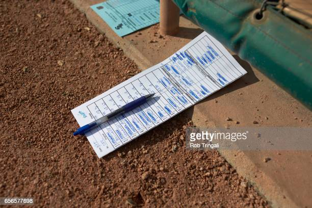 MLB Season Preview Closeup of Los Angeles Dodgers lineup card in dugout before spring training game at Camelback Ranch Glendale Phoenix AZ CREDIT Rob...
