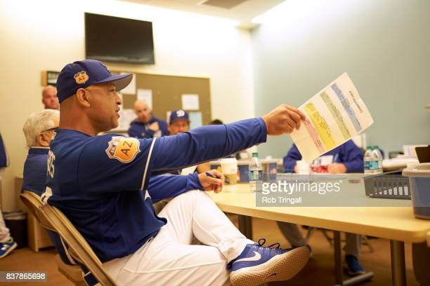 MLB Season Preview Los Angeles Dodgers manager Dave Roberts seated in coaches meeting during spring training photo shoot at Camelback RanchGlendale...