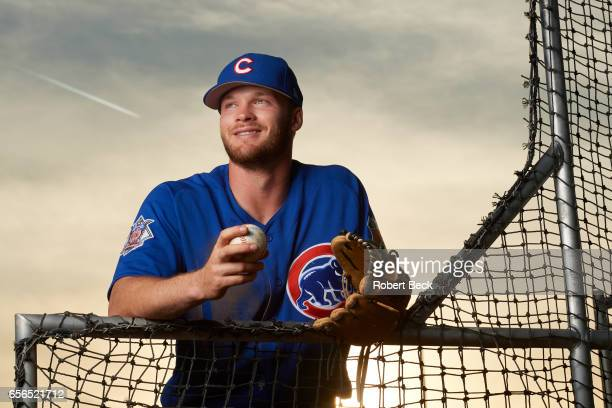 MLB Season Preview Portrait of Chicago Cubs Ian Happ posing during spring training photo shoot at Sloan Park Mesa AZ CREDIT Robert Beck