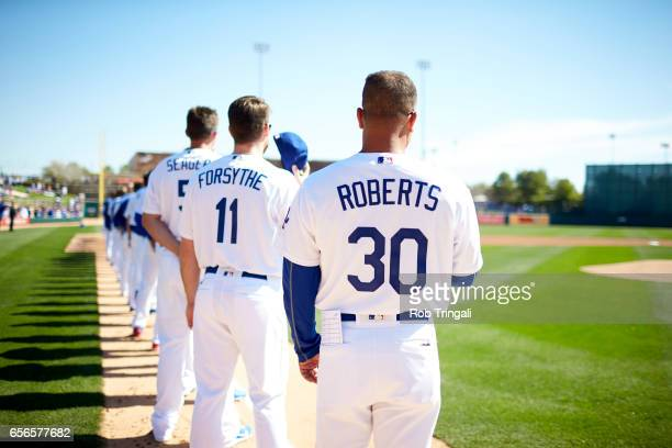 MLB Season Preview Portrait of Los Angeles Dodgers players lined up on field before spring training game at Camelback Ranch Glendale Phoenix AZ...