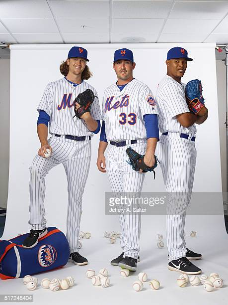 MLB Season Preview Portrait of New York Mets pitchers Jacob deGrom Matt Harvey and Jeurys Familia posing during spring training photo shoot at...