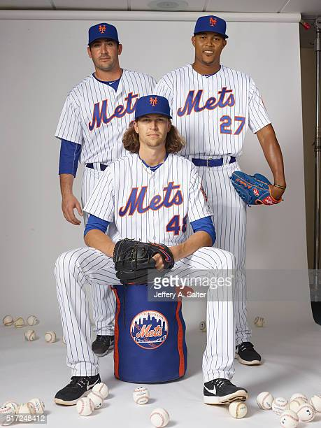 MLB Season Preview Portrait of New York Mets pitchers Matt Harvey Jacob deGrom and Jeurys Familia posing during spring training photo shoot at...