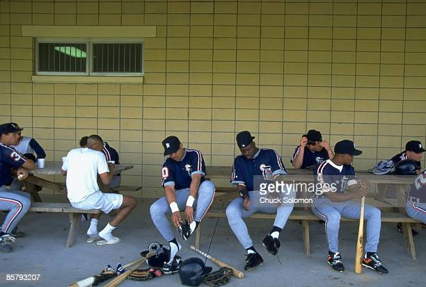 MLB Strike Detroit Tigers replacement players sitting outside of clubhouse during spring training at Tigertown Lakeland FL 2/22/1995 CREDIT Chuck...