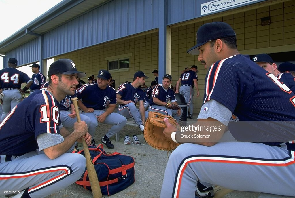 Detroit Tigers replacement players sitting outside of