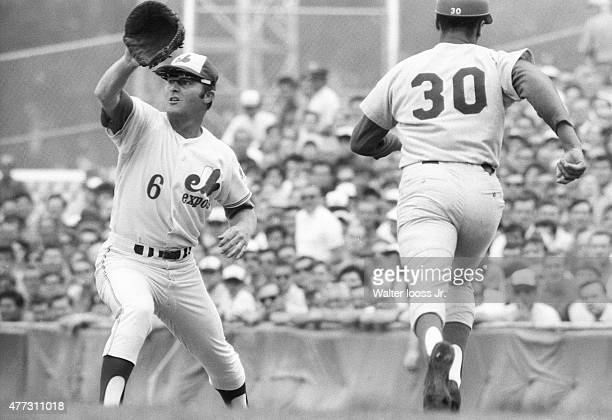 Montreal Expos Ron Fairly in action on defense vs Los Angeles Dodgers Maury Wills at Parc Jarry Montreal Canada 8/20/1969 CREDIT Walter Iooss Jr
