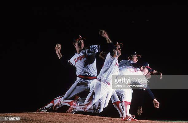 Multiple exposure view of California Angels Nolan Ryan in action pitching during photo shoot on day he threw his fourth career nohitter during game...