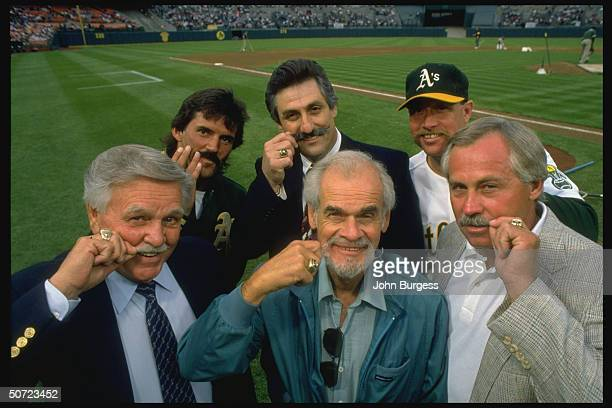 Mustache judges Dennis Eckersley Rollie Fingers Goose Gossage Catfish Hunter Bill King and Dick Williams Oakland A's Mustache Night contest