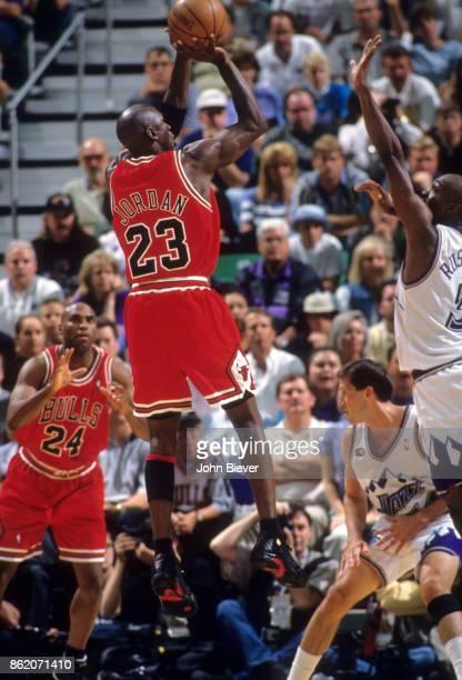 NBA Finals Chicago Bulls Michael Jordan in action shooting vs Utah Jazz at Delta Center Game 6 Salt Lake City UT CREDIT John Biever