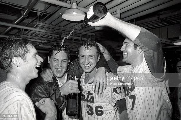 New York Mets Bud Harrelson Tom Seaver Jerry Koosman and Ed Kranepool victorious in locker room after clinching National League Eastern Division with...