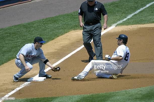 Baseball New York Mets David Wright in action making tag vs New York Yankees Johnny Damon during slide Bronx NY 7/1/2006