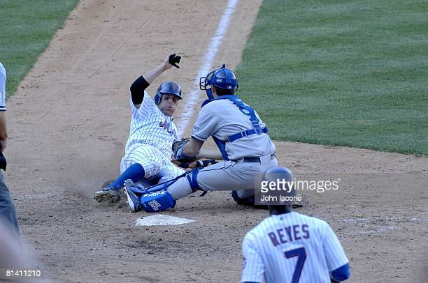 Baseball: New York Mets Doug Mientkiewicz in action, making home plate slide vs Los Angeles Dodgers Jason Phillips attempting tag, Flushing, NY...