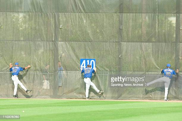 Baseball - New York Mets Gerald Williams, Jason Phillips, Ron Calloway during Spring Training in Port St. Lucie, Florida on Feb. 23, 2005.