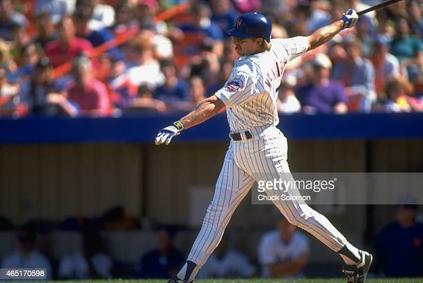 New York Mets Jeff McKnight in action at bat vs Florida Marlins at Shea Stadium Flushing NY CREDIT Chuck Solomon