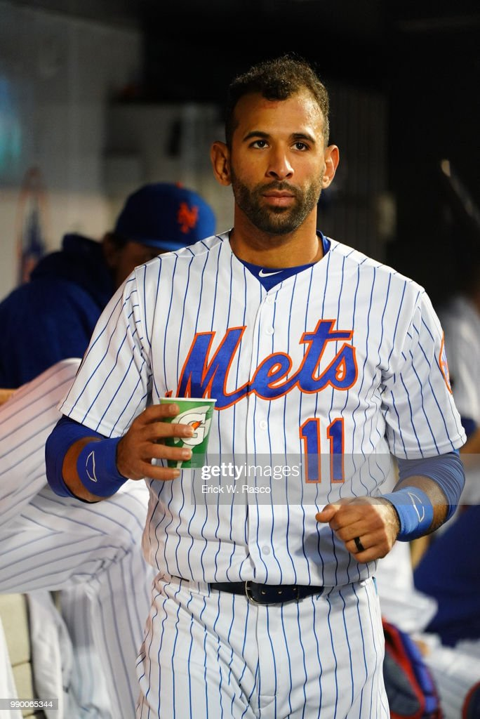 save off 00944 53b11 New York Mets Jose Bautista in dugout during game vs ...