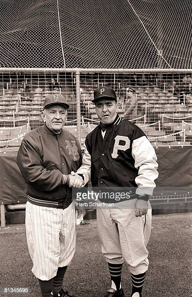Baseball New York Mets manager Casey Stengel and Pittsburgh Pirates manager Danny Martaugh shaking hands before opening day game New York NY 4/13/1962