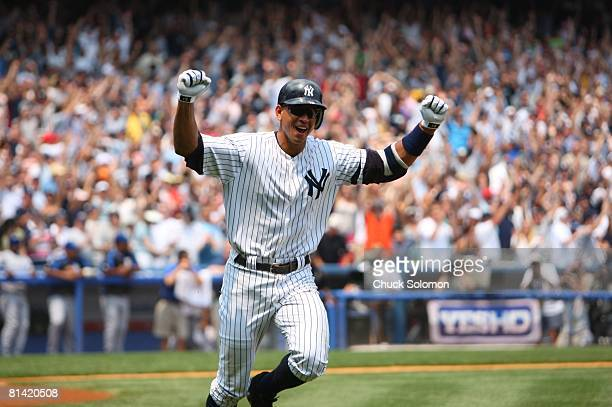 Baseball New York Yankees Alex Rodriguez in action and victorious after hitting 500th career home run during game vs Kansas City Royals Bronx NY...