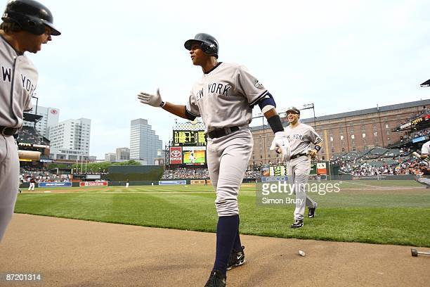 New York Yankees Alex Rodriguez victorious after three run homerun after first atbat vs Baltimore Orioles Rodriguez's first game back after right hip...