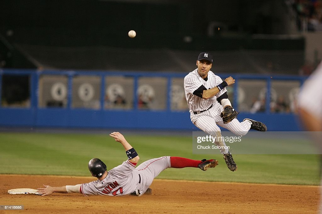 New York Yankees Derek Jeter 2 In Action Turning Double Play Vs Boston
