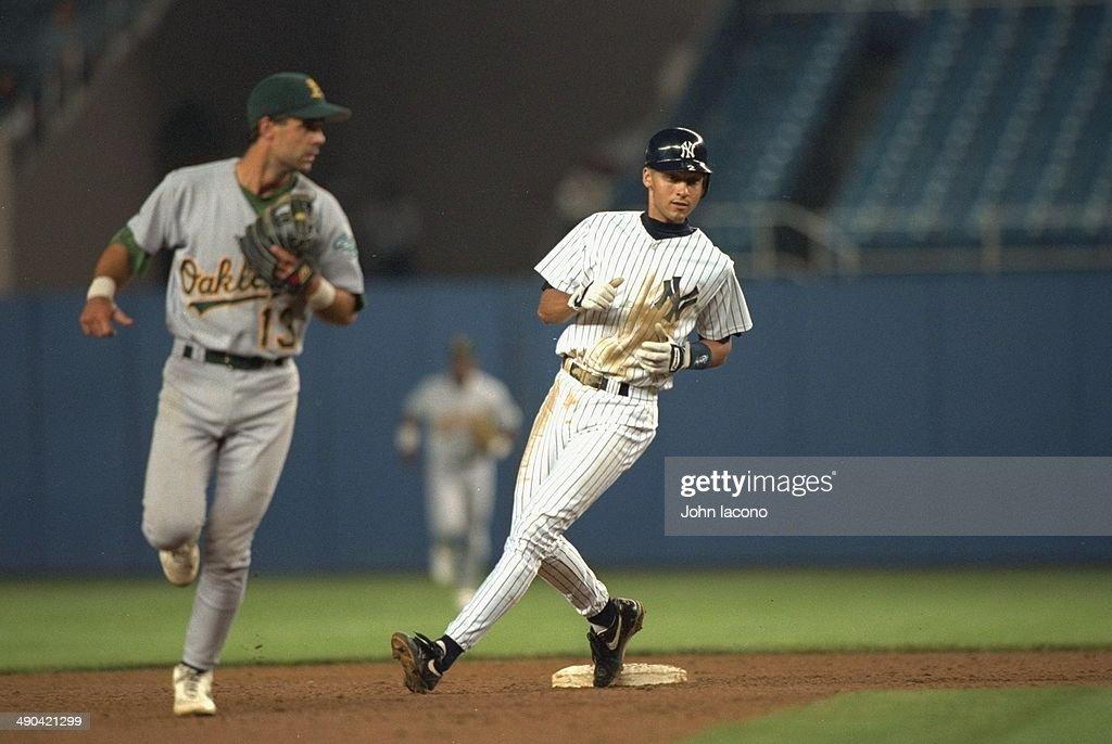 New York Yankees Derek Jeter 2 On Base During Game Vs Oakland Athletics At