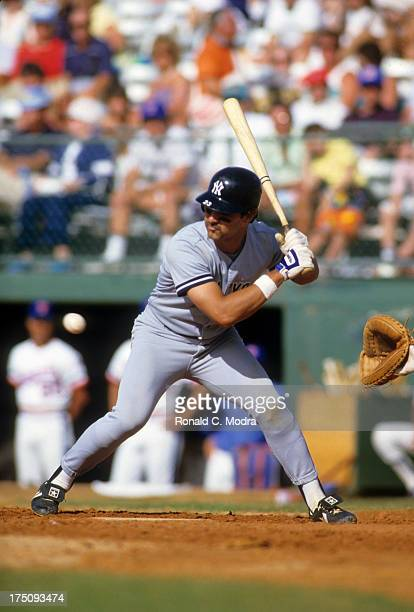 New York Yankees Don Mattingly in action at bat vs Texas Rangers during spring training game at Pompano Beach Municipal Stadium Pompano Beach FL...