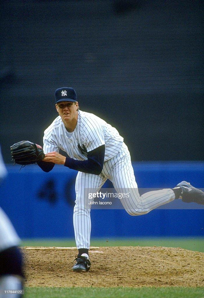 New York Yankees Jim Abbott in action vs Kansas City Royals