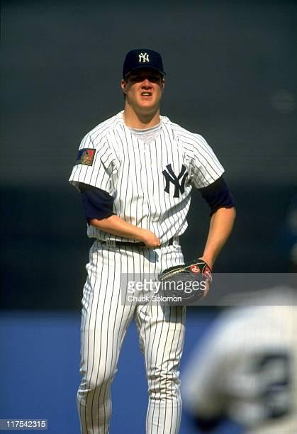 New York Yankees Jim Abbott on mound during game vs Chicago White Sox at Yankee Stadium Bronx NY CREDIT Chuck Solomon