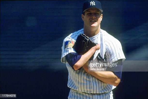 New York Yankees Jim Abbott on mound during game vs Oakland Athletics at Yankee Stadium Bronx borough of New York City 4/24/1994 CREDIT John Iacono