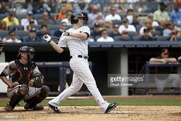New York Yankees Lyle Overbay in action at bat vs Baltimore Orioles at Yankee Stadium Bronx NY CREDIT Chuck Solomon