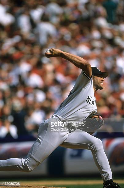 New York Yankees Mariano Rivera in action pitching vs New York Mets at Shea Stadium Rivera saves both games of a doubleheader game 2 was played at...