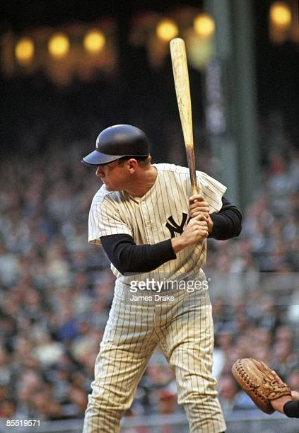 New York Yankees Mickey Mantle in action at bat during game Bronx NY 1/1/19539/28/1968 CREDIT James Drake