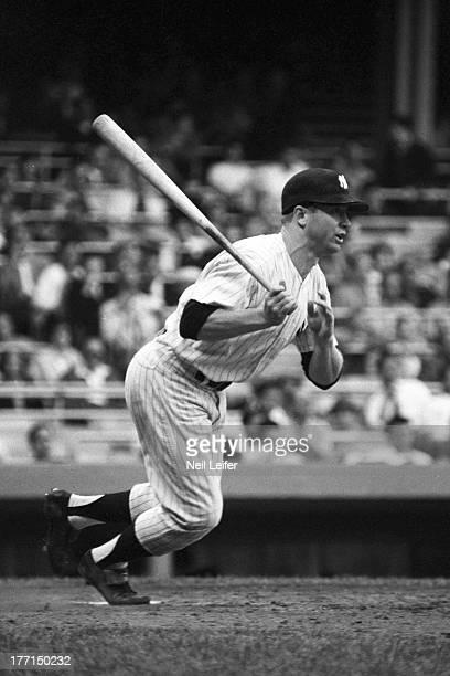 New York Yankees Mickey Mantle in action at bat vs Detroit Tigers at Yankee Stadium Bronx NY CREDIT Neil Leifer