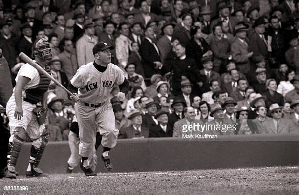 New York Yankees Mickey Mantle in action hitting home run vs Washington Senators Bronx NY 4/15/1956 CREDIT Mark Kauffman