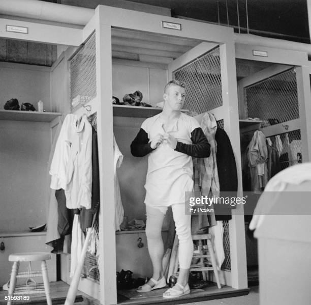 Baseball New York Yankees Mickey Mantle in locker room Bronx NY 4/11/1954