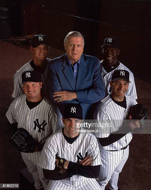 Baseball New York Yankees owner George Steinbrenner with pitchers Jose Contreras Andy Pettitte Mike Mussina Roger Clemens and Jeff Weaver during...