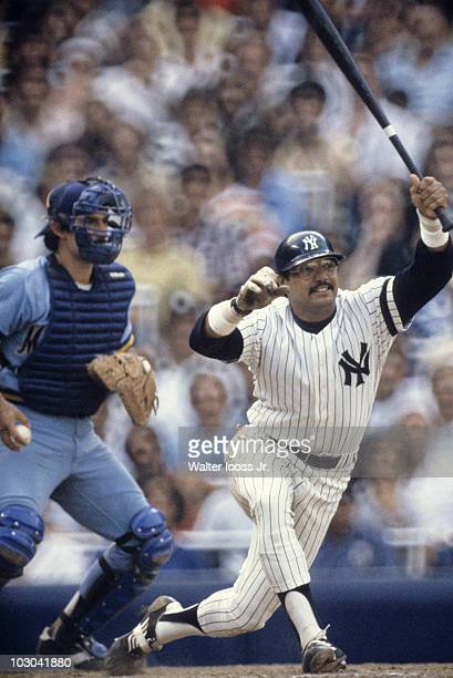 New York Yankees Reggie Jackson in action at bat vs Milwaukee Brewers Bronx NY 7/18/1980 CREDIT Walter Iooss Jr