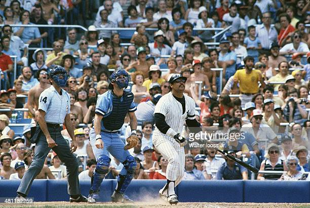New York Yankees Reggie Jackson in action at bat vs Kansas City Royals at Yankee Stadium Bronx NY CREDIT Walter Iooss Jr