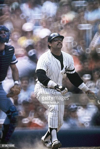 Baseball New York Yankees Reggie Jackson in action at bat vs Kansas City Royals Cover Bronx NY 7/18/1980