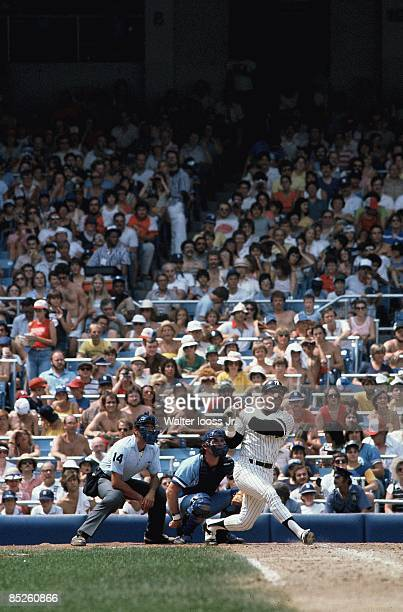 New York Yankees Reggie Jackson in action at bat vs Kansas City Royals Bronx NY 7/20/1980 CREDIT Walter Iooss Jr